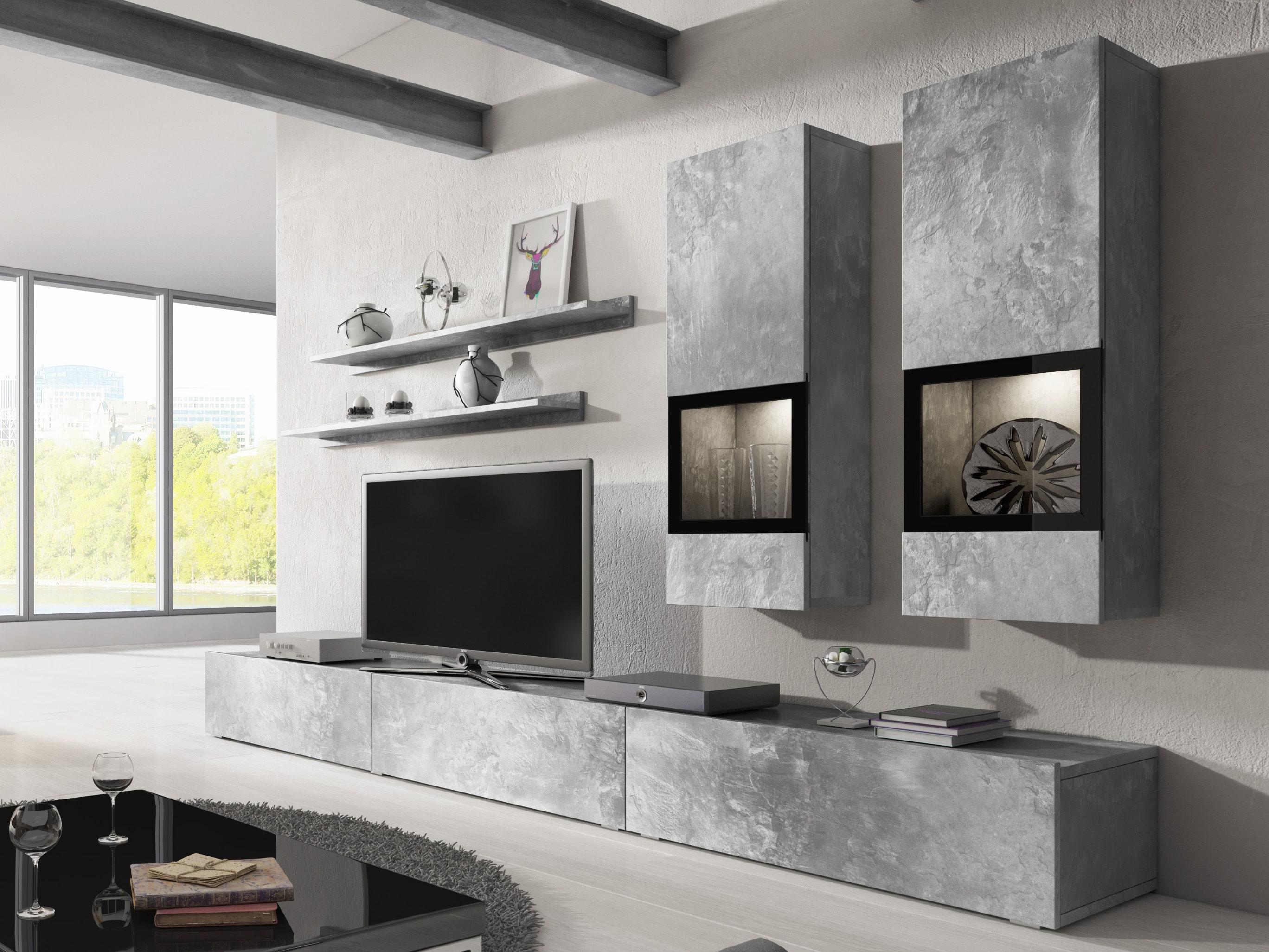Obývacia stena - Barly - Typ 10 (svetlý betón). Akcia -42%.