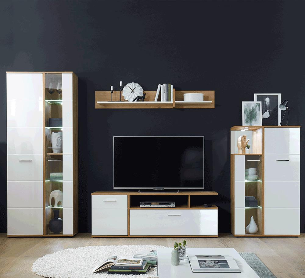 Obývacia stena, biela vysoký lesk HG/dub artisan, REVEL