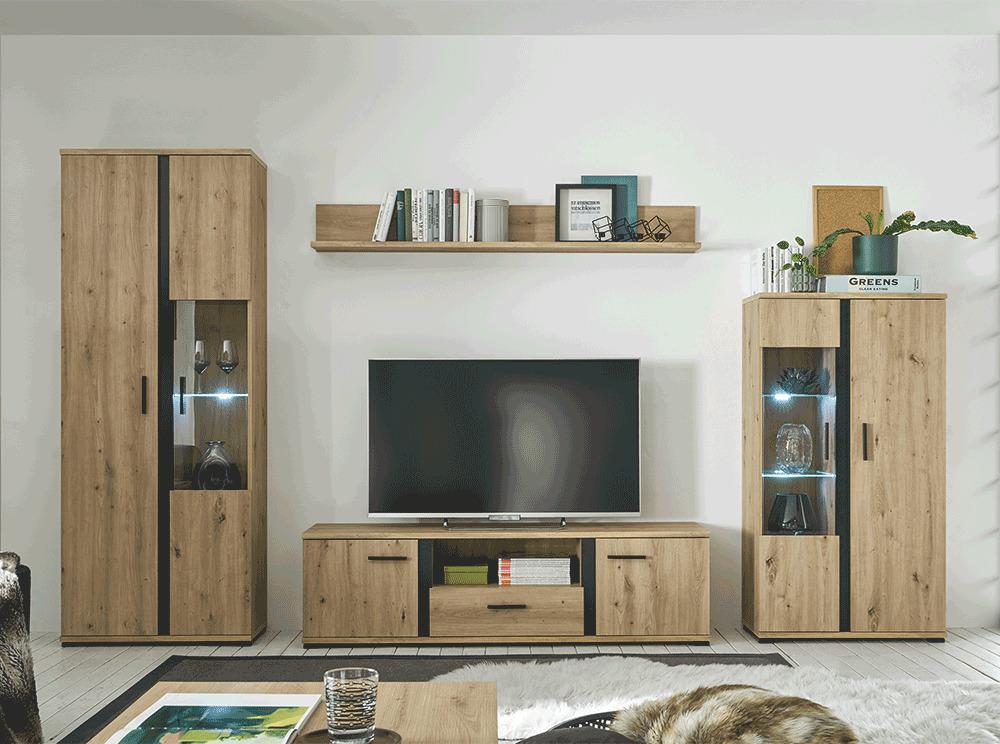 Obývacia stena, dub artisan/čierna, KANODE