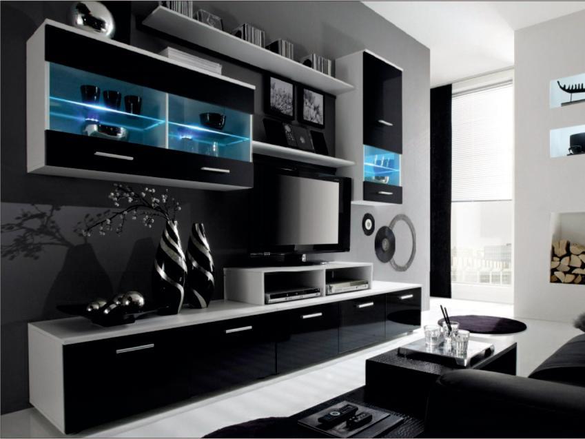 Obývacia stena Leodan (biela + čierna) (s osvetlením)