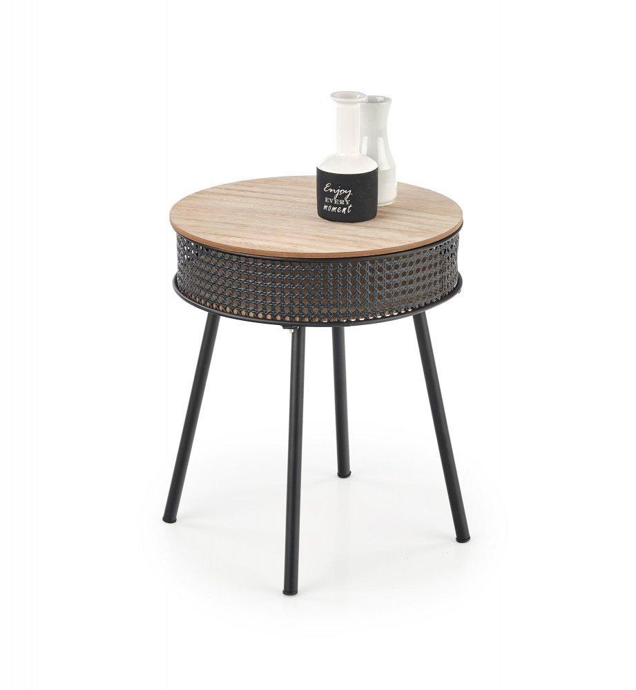 Odkladací stolík TROFEA prírodná / čierna Halmar