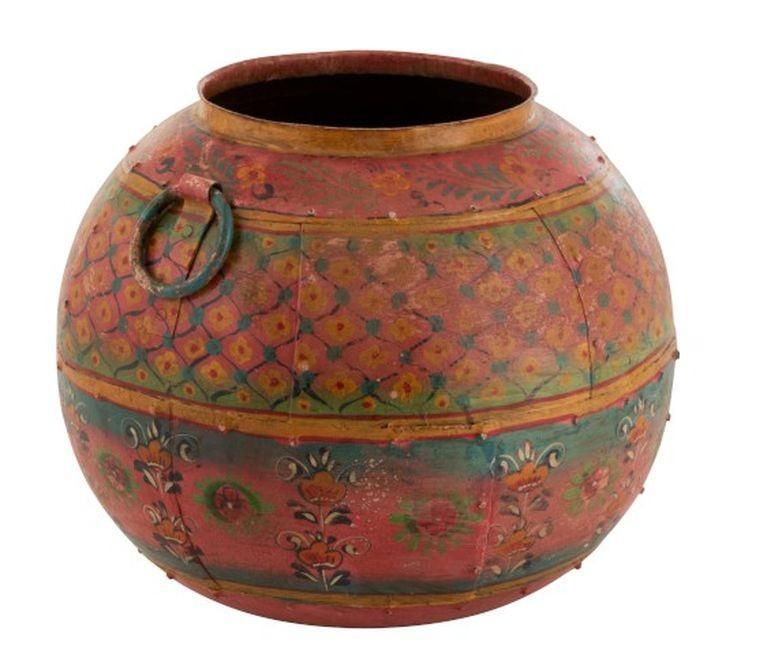 Okrúhly maľovaný kovový kvetináč / váza Sphere - Ø43 * 36cm