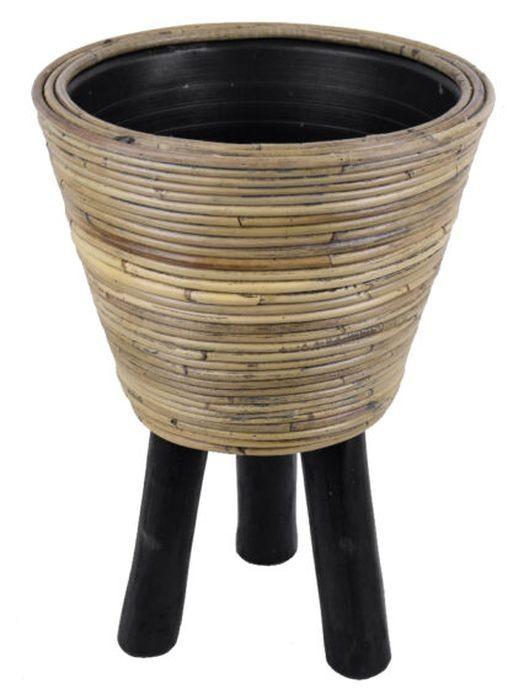 Okrúhly ratanový kvetináč na nožičkách Stripe antik sivá - Ø32 * 45 cm