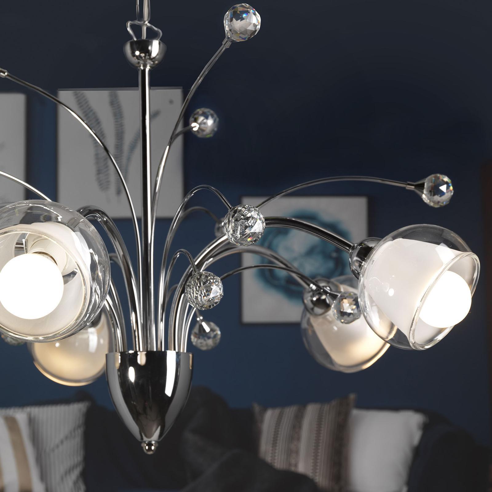 EULUNA Závesná lampa Diamante chróm, 5 tienidiel zo skla