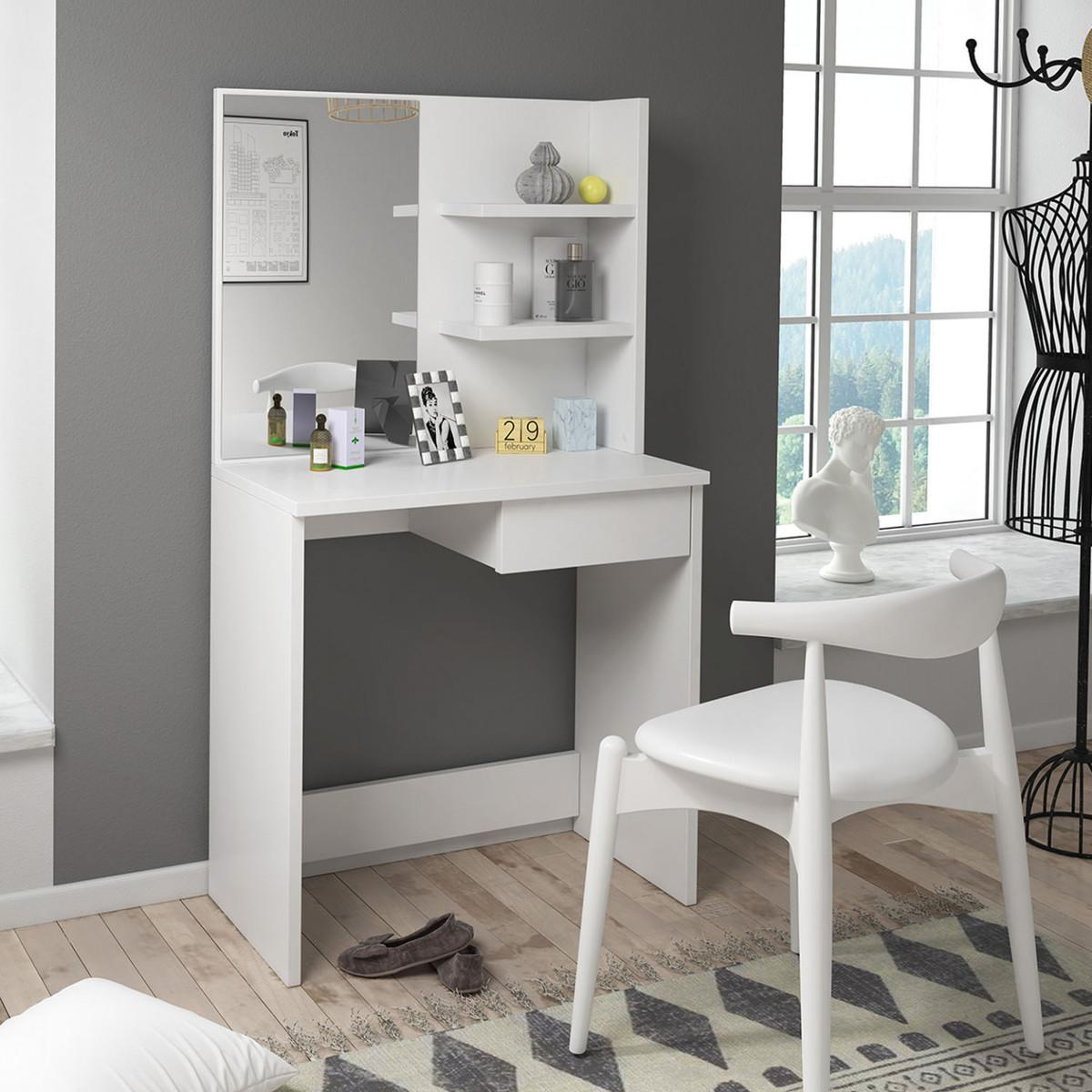 Originálny toaletný stolík so zrkadlom Jula| biely