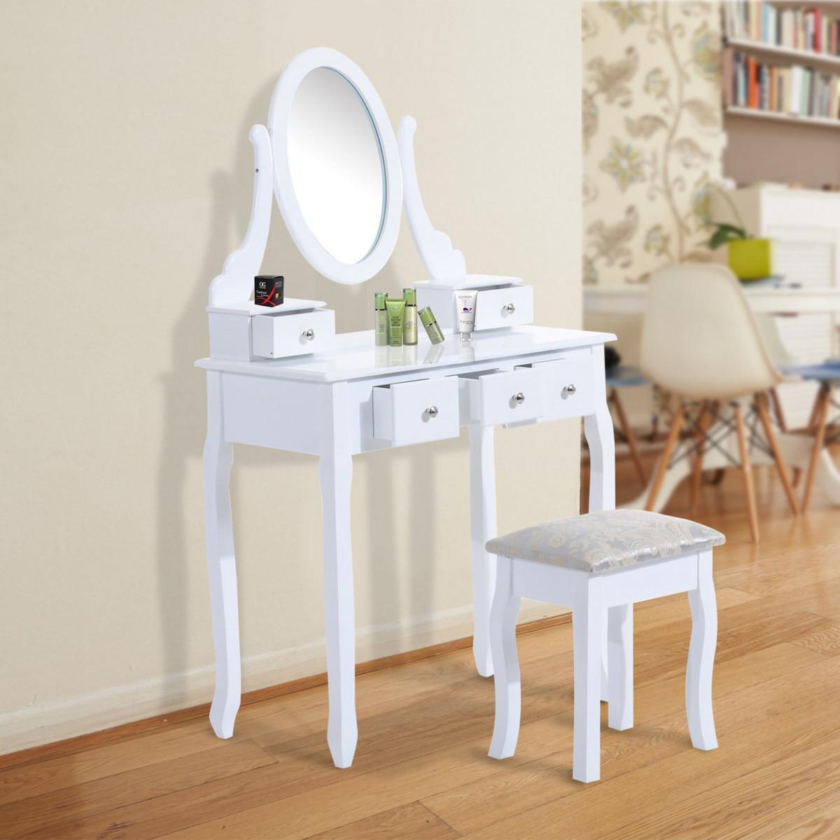 Originálny toaletný stolík so zrkadlom Sissa | biely