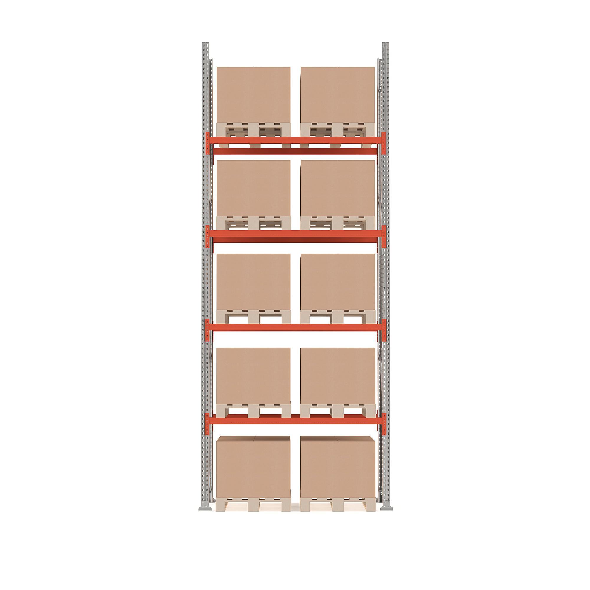 Paletový regál Ultimate, základná sekcia, 10 paliet, 5000x1850x1100 mm
