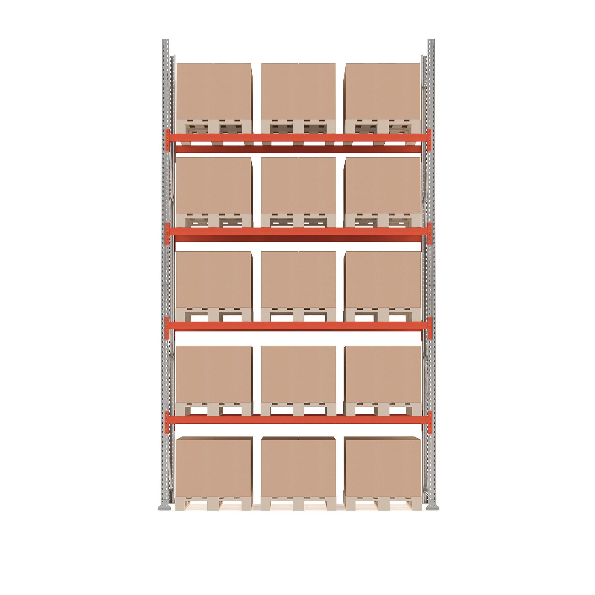 Paletový regál Ultimate, základná sekcia, 15 paliet, 5000x2750x1100 mm