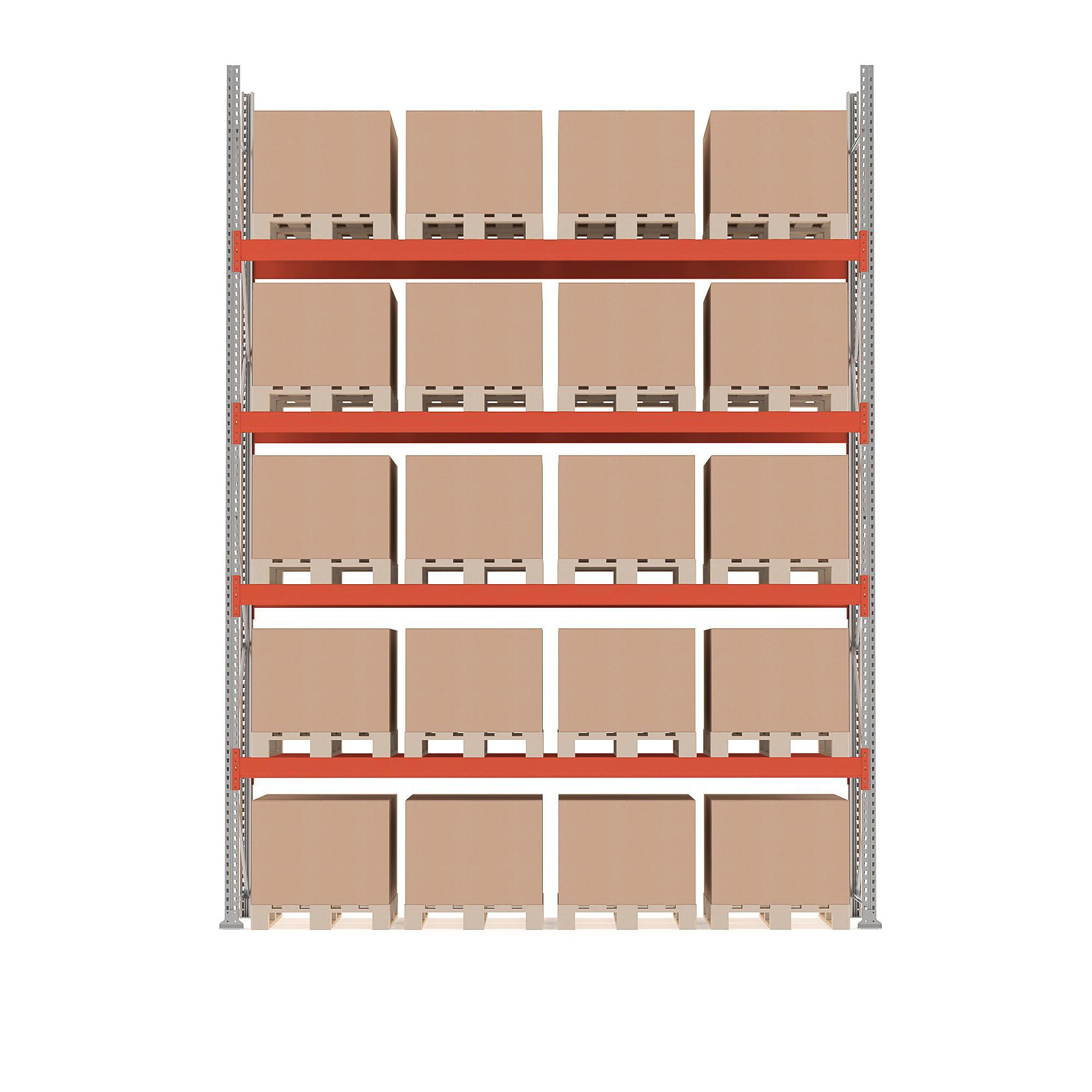 Paletový regál Ultimate, základná sekcia, 20 paliet, 5000x3600x1100 mm