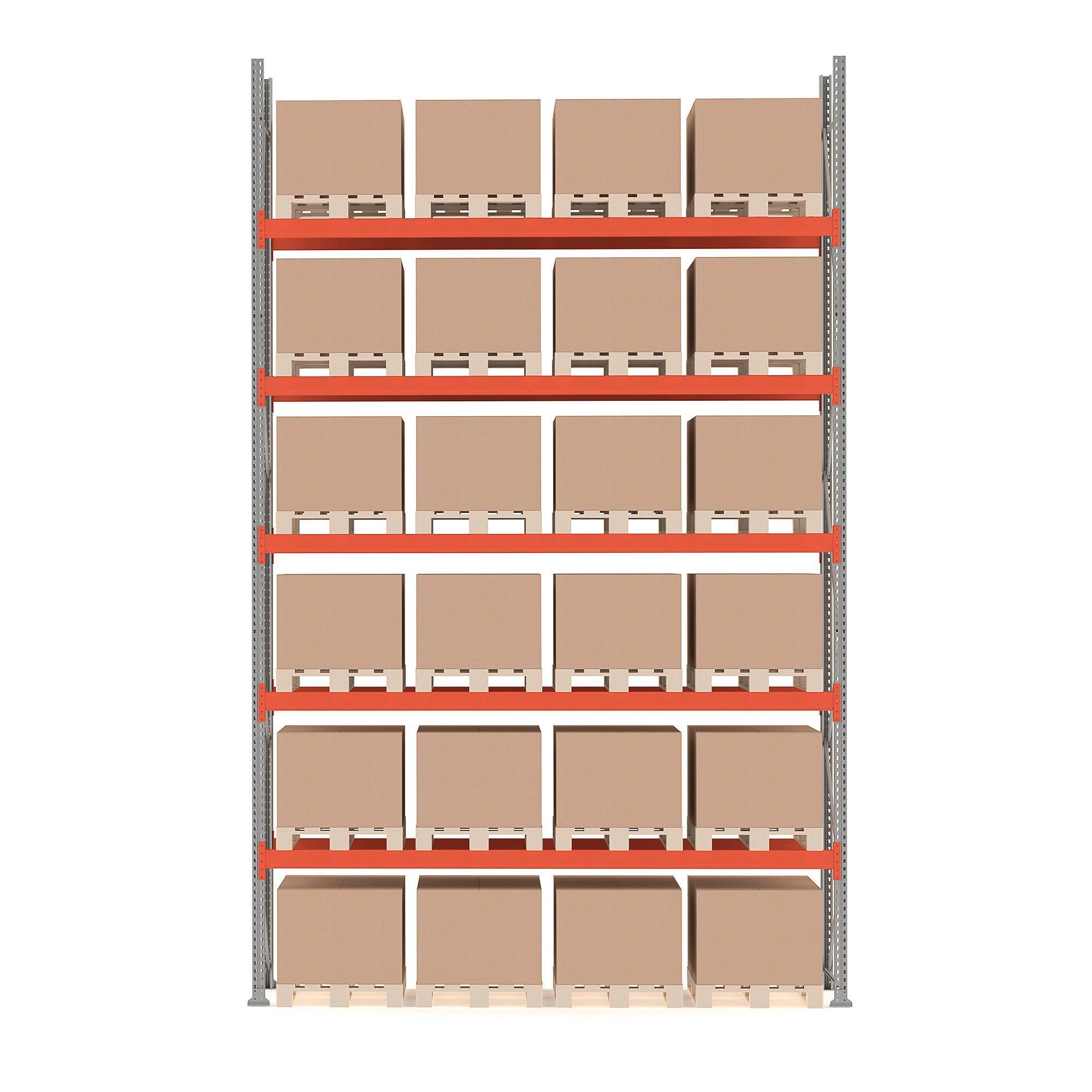 Paletový regál Ultimate, základná sekcia, 24 paliet, 6000x3600x1100 mm