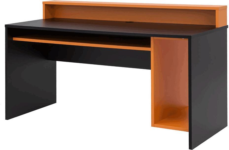 PC stôl/herný stôl, čierna matná/oranžová, TEZRO