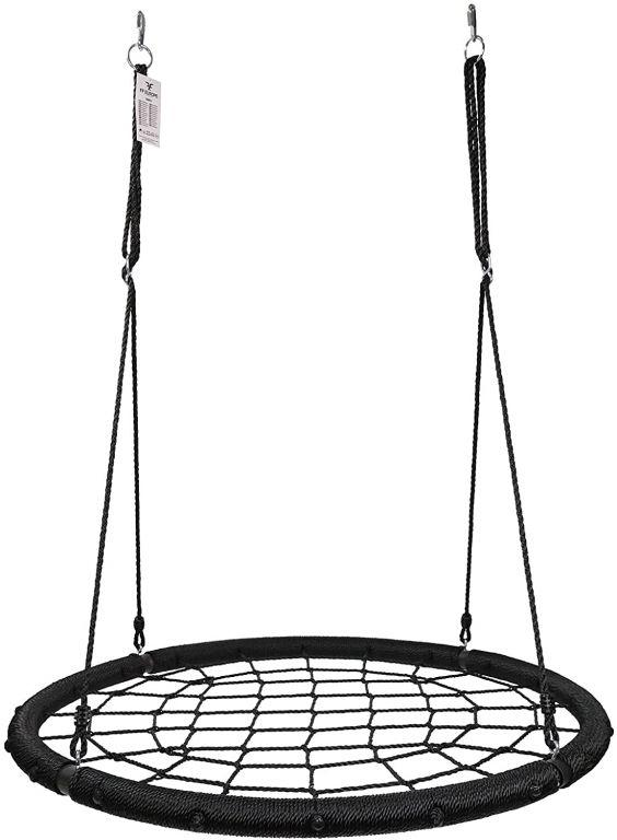 Physionics sieťová hojdačka v tvare kruhu, 120 cm, čierna