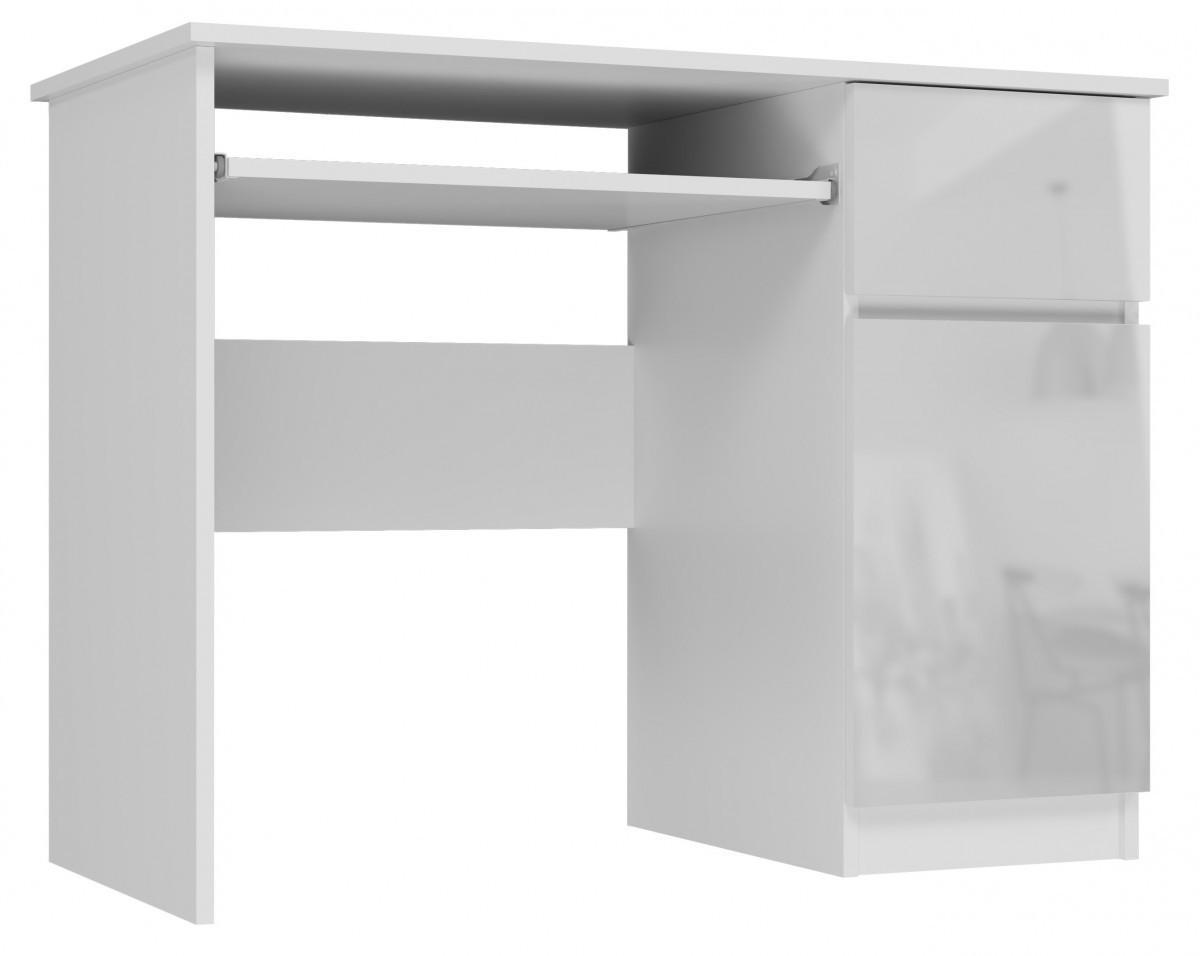 Písací stôl Bravo pravý biely lesk