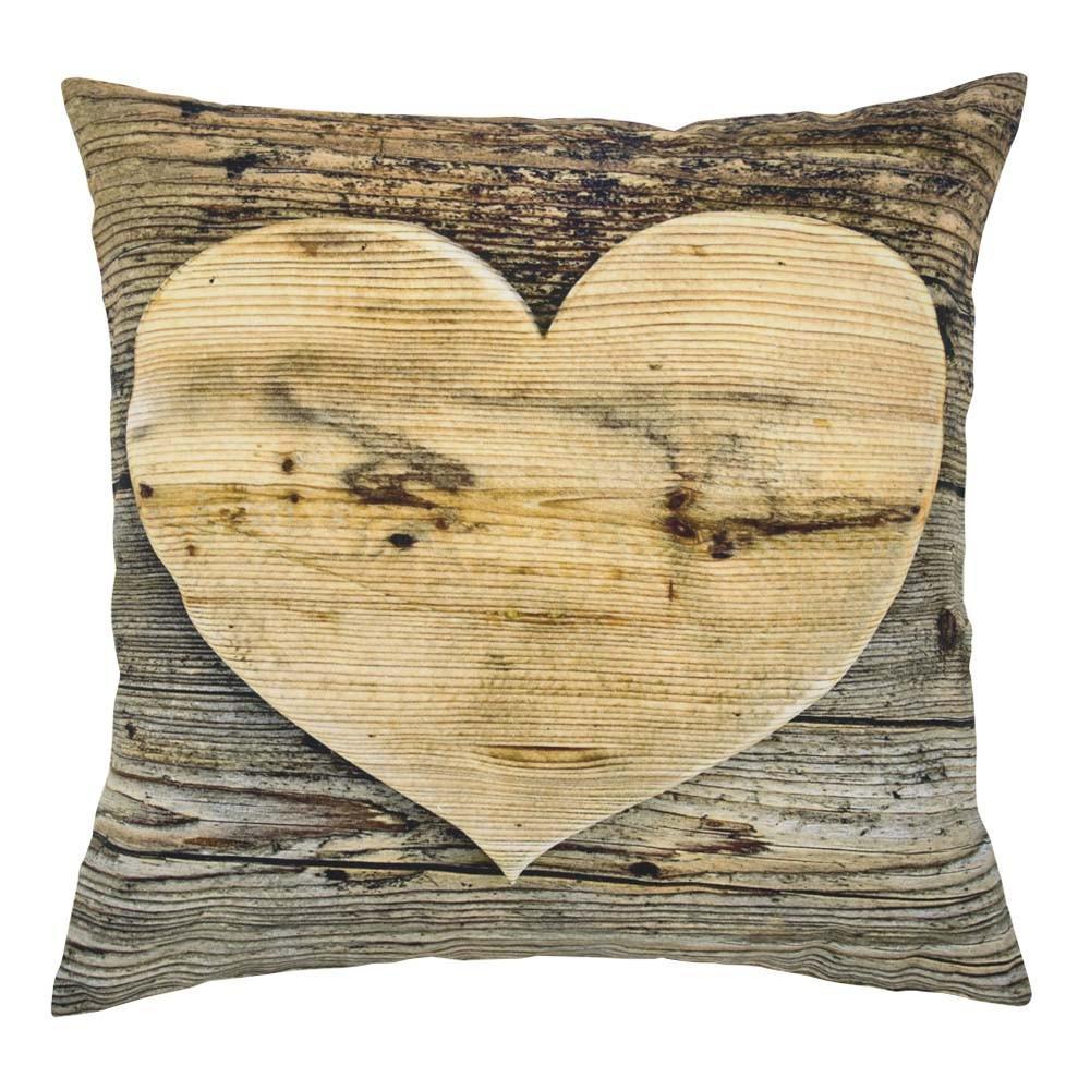 Plátený vankúš drevené srdce Wooden heart - 50 * 10 * 50cm