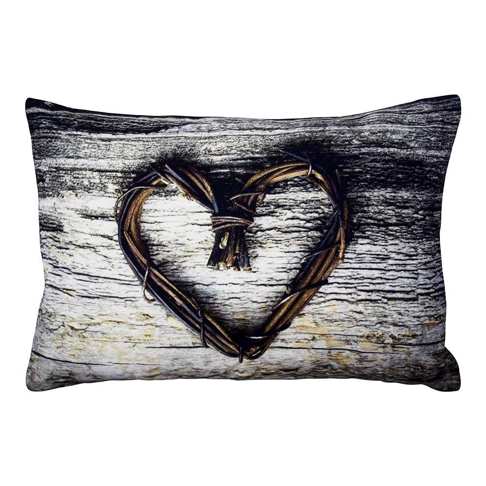 Plátený vankúšik srdce z vetvičiek Heart Twig - 50 * 10 * 35cm