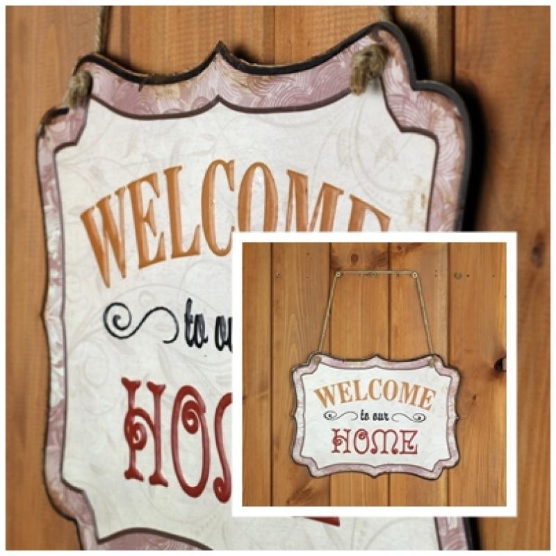 Plechová ceduľa Welcome to our home 19x25cm