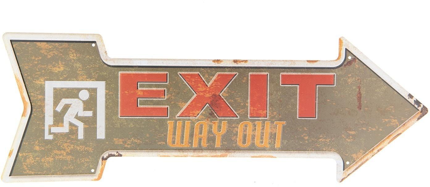 Plechová šípka Exit doprava - 46 * 15 cm