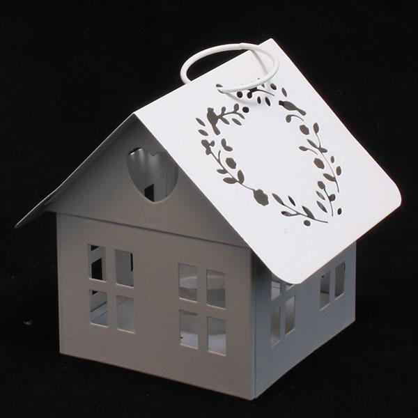 Plechový domček -svietnik, 13cm