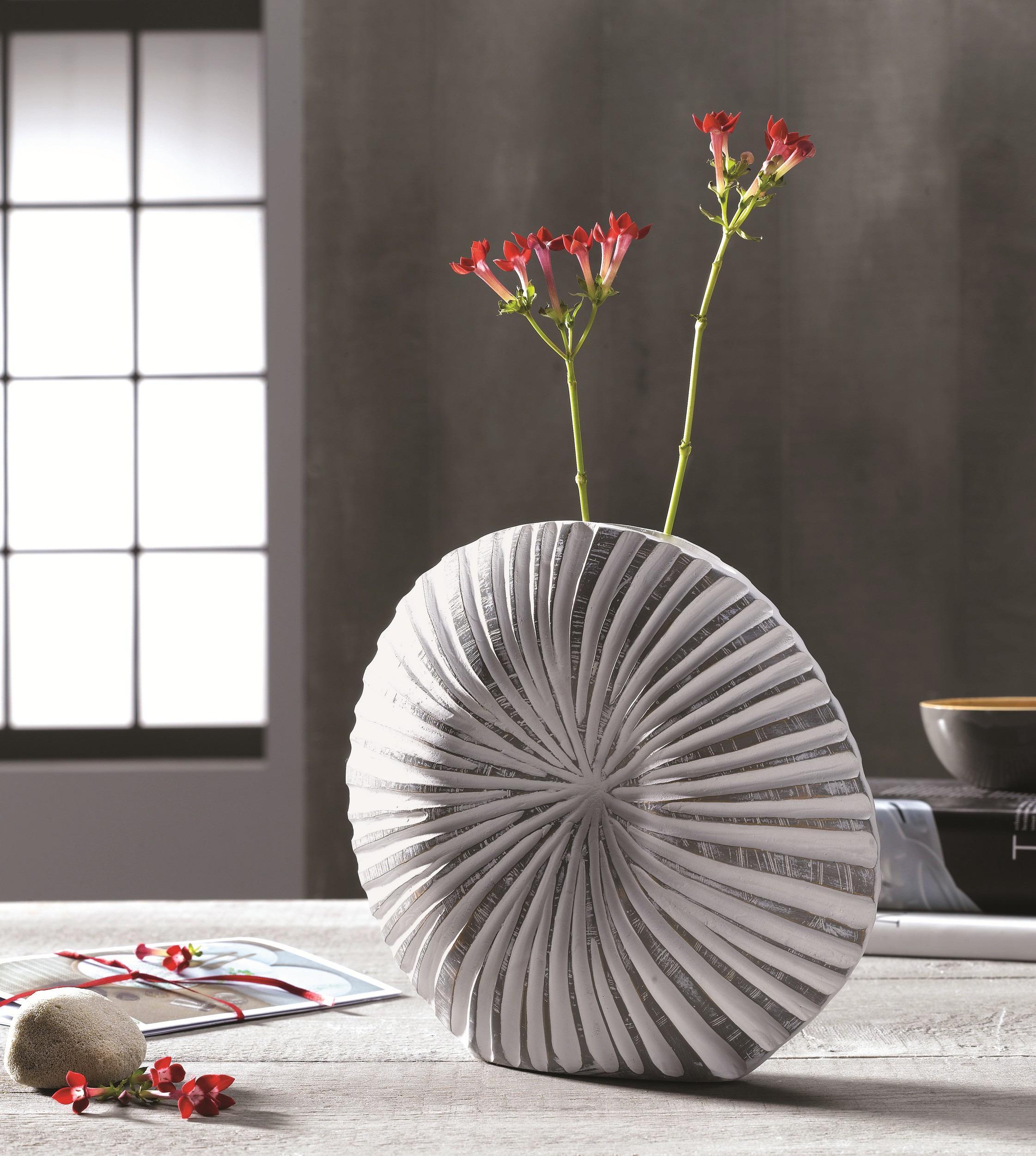 Plochá dekoračná váza 35 cm, pruhy, polyresinová