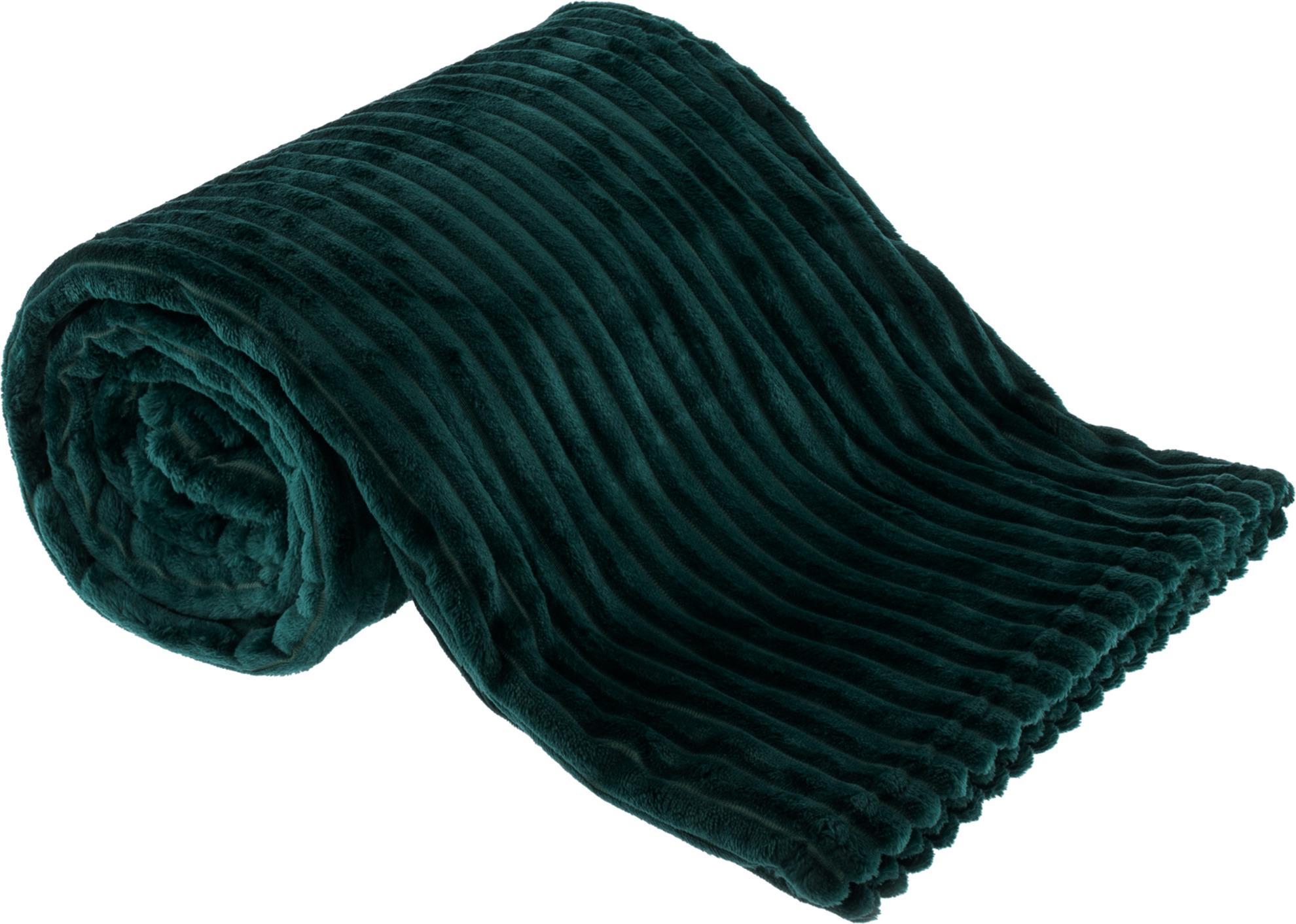 Plyšová pruhovaná deka, smaragdová, 160x200cm, TELAL