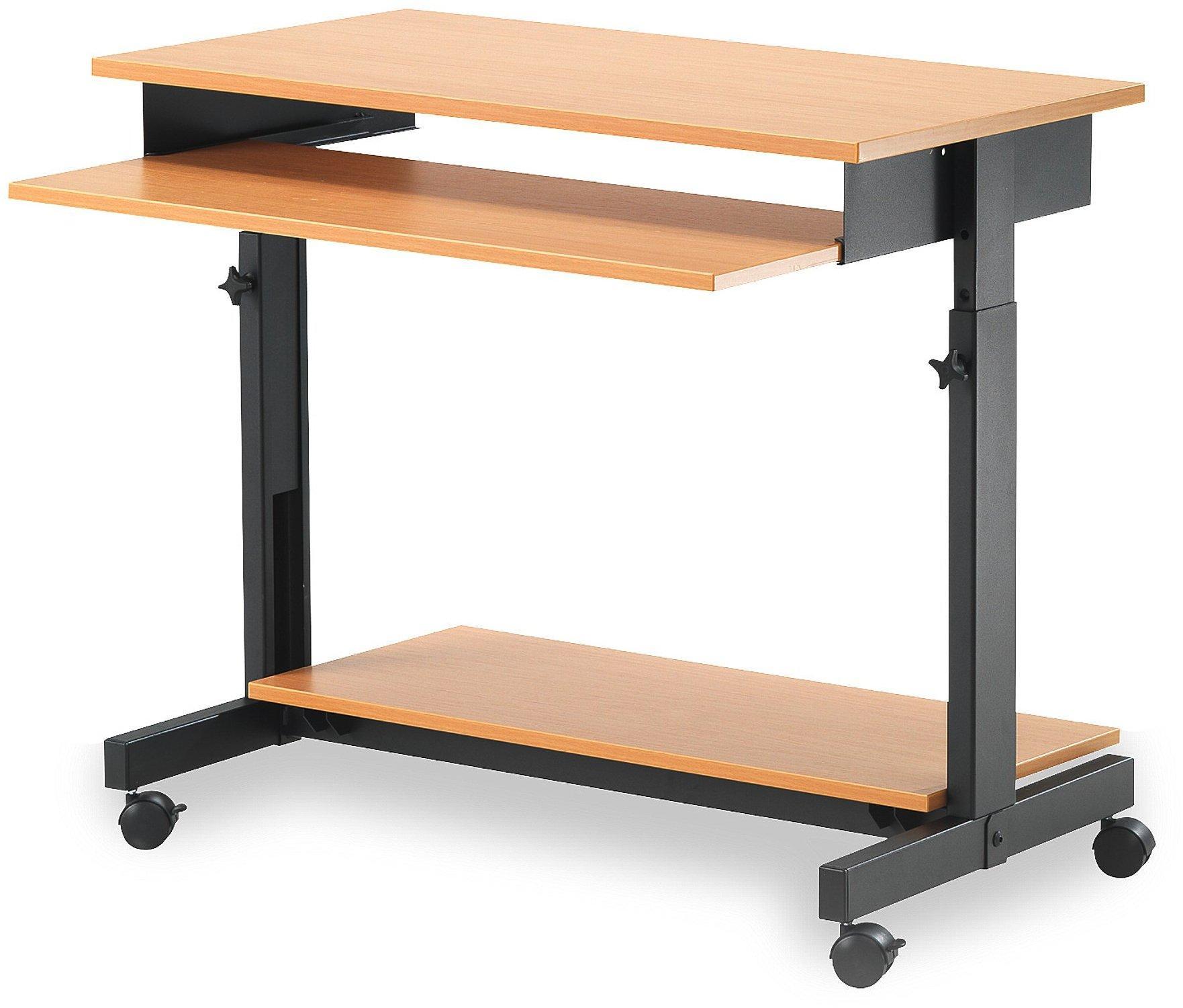 Počítačový stôl Logic, výškovo nastaviteľný, 880x500 mm, buk/čierna