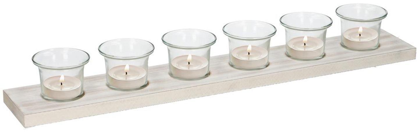 Podnos so 6 svietnikmi na čajové sviečky, 50 x 8 x 1,5 cm