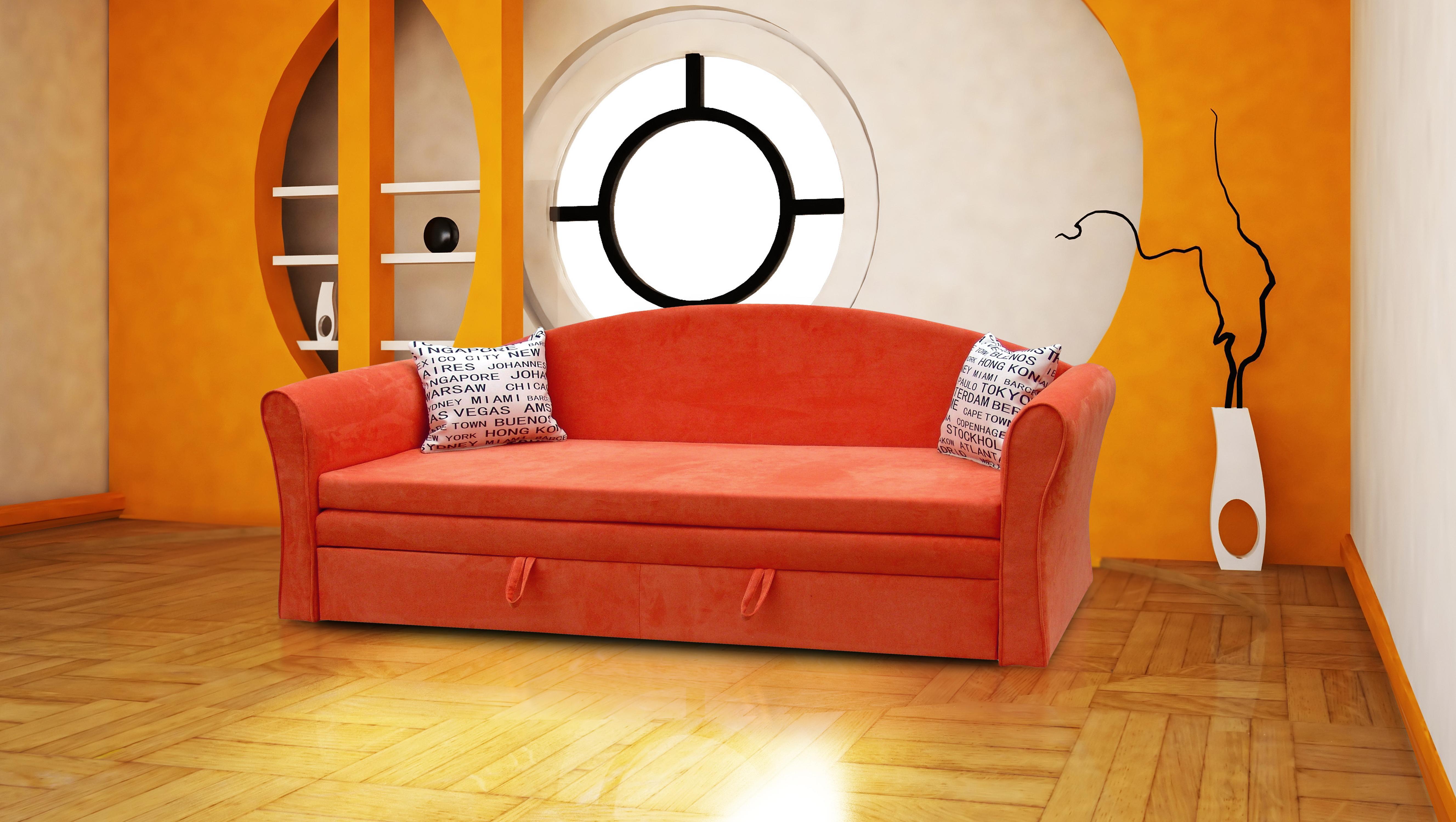 Pohovka trojsedačka - Bala (oranžová + vankúše London). Akcia -32%.
