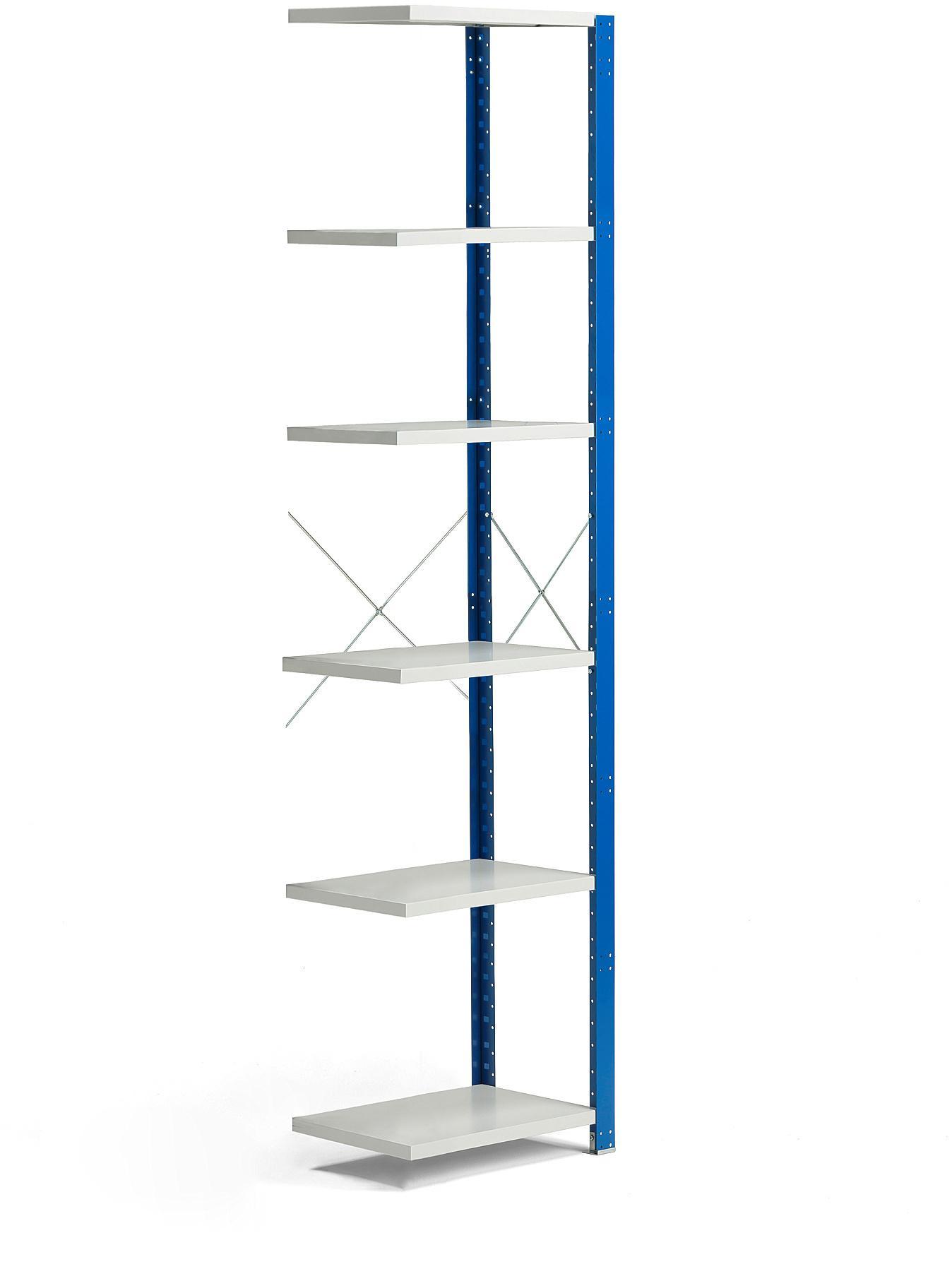 Policový kovový regál Mix, prídavná sekcia, 2500x600x600 mm, modrá, šedá