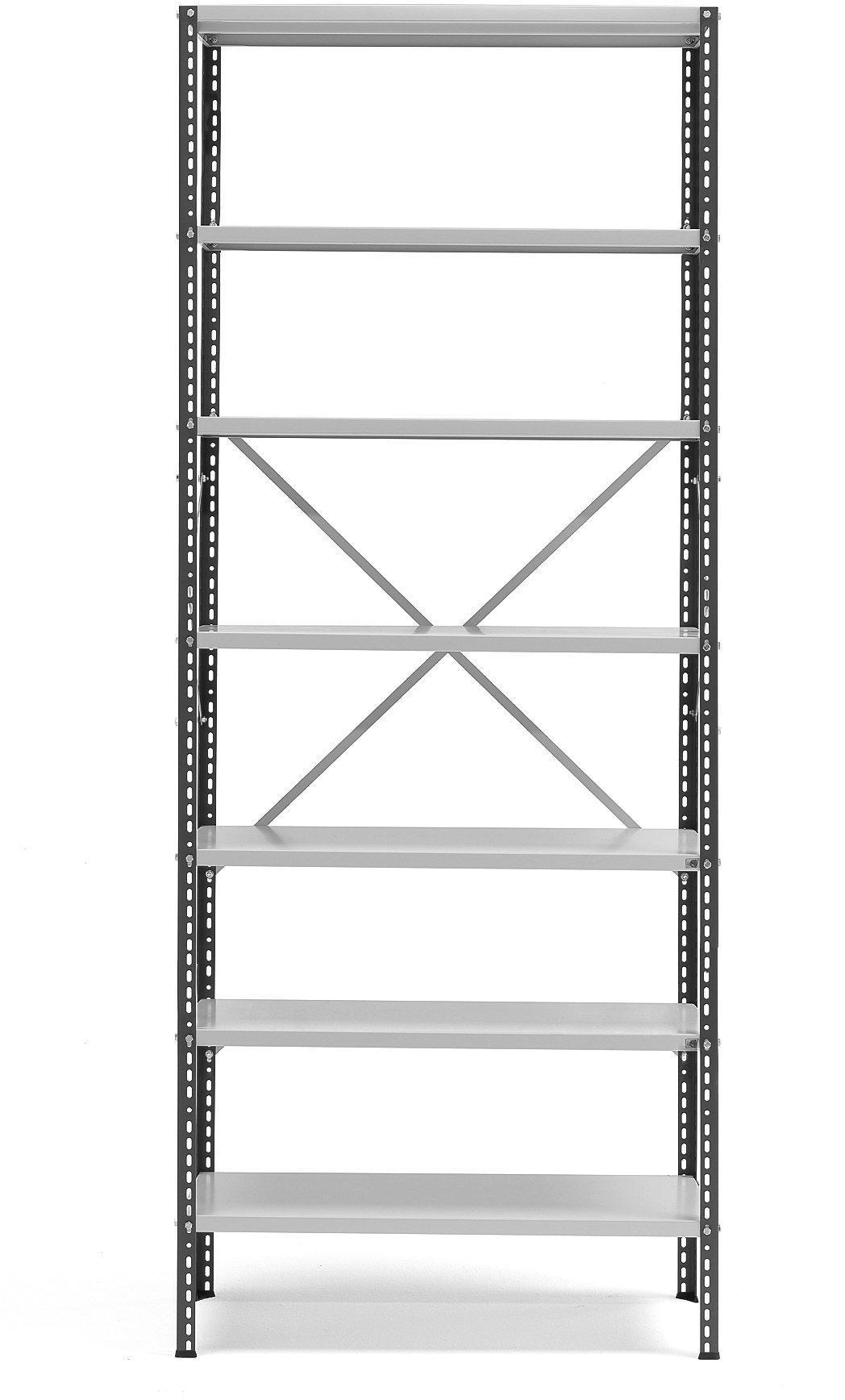 Policový kovový regál Power, základná sekcia, 2500x1010x400 mm, tmavo šedý