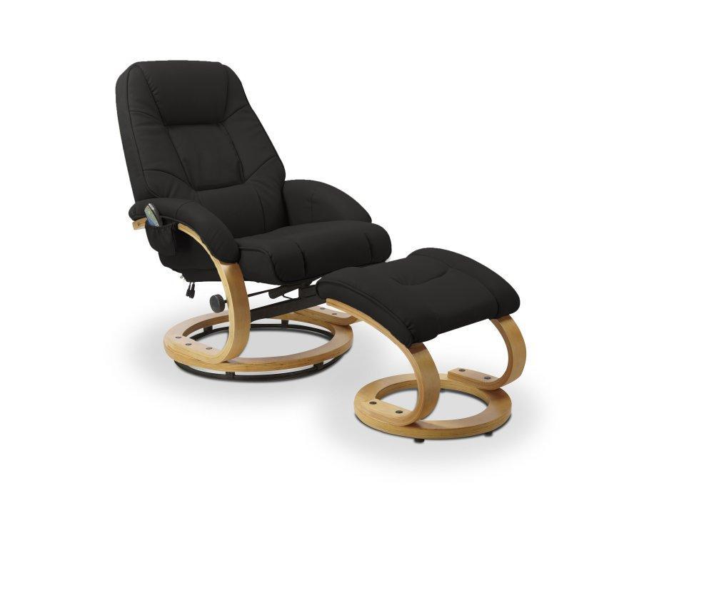 Polohovacie masážne kreslo s stoličkou MATADOR Halmar Čierna