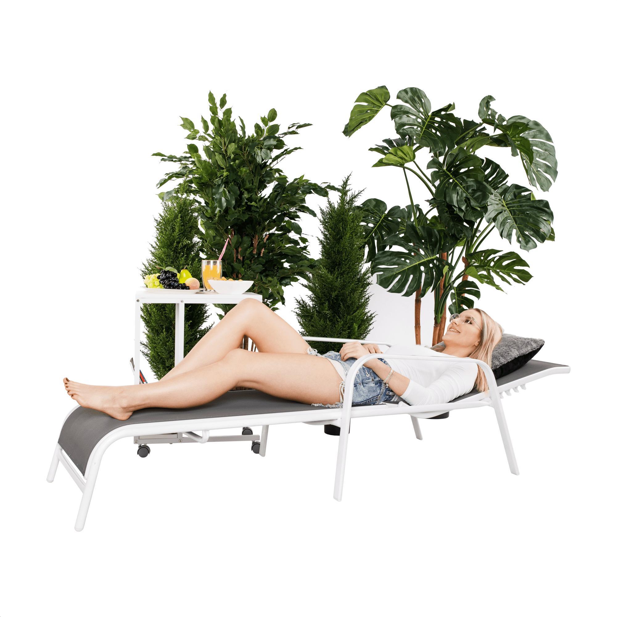 Polohovacie záhradné lehátko, sivá/biela, ATREO