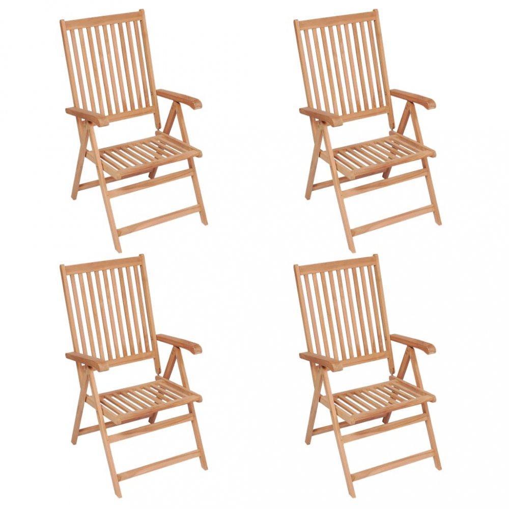 Polohovateľné záhradné stoličky 4 ks hnedá Dekorhome