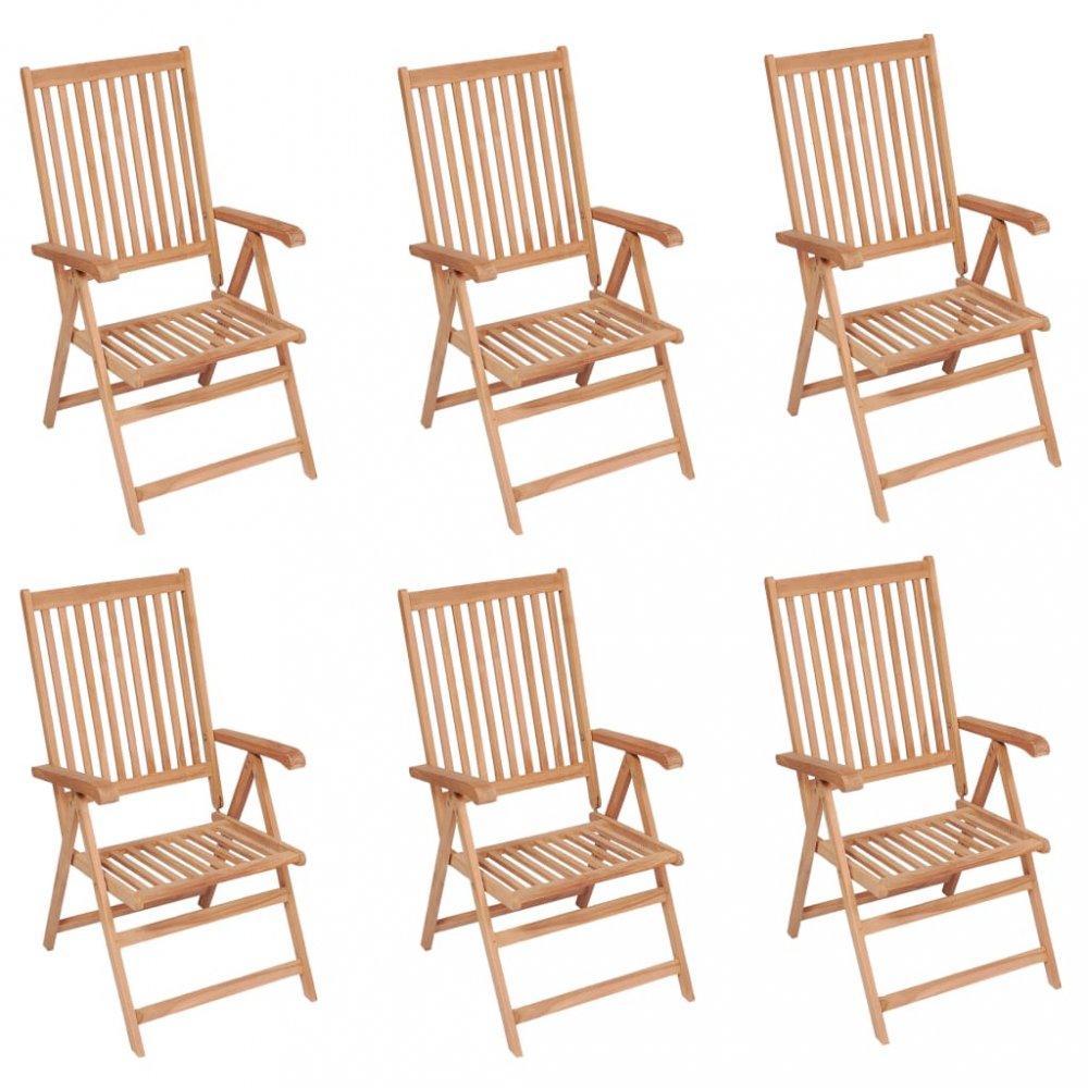 Polohovateľné záhradné stoličky 6 ks hnedá Dekorhome