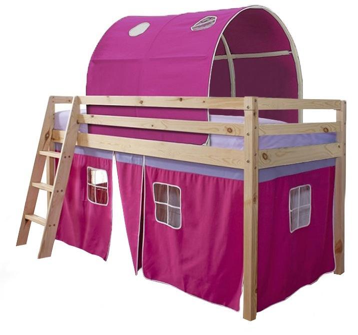 Poschodová posteľ 90 cm Indigo (ružová) (s roštom)
