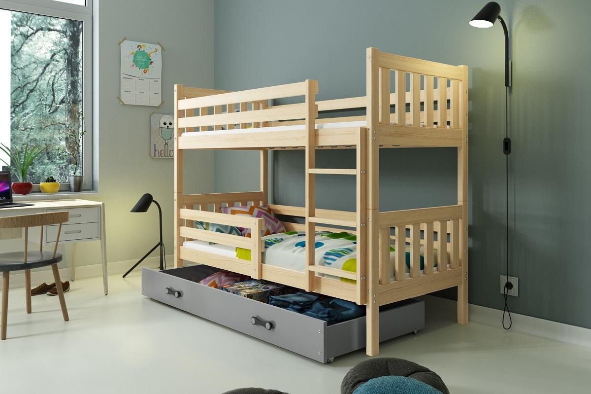 Poschodová posteľ CARINO - 190x80cm - Borovica - Grafit