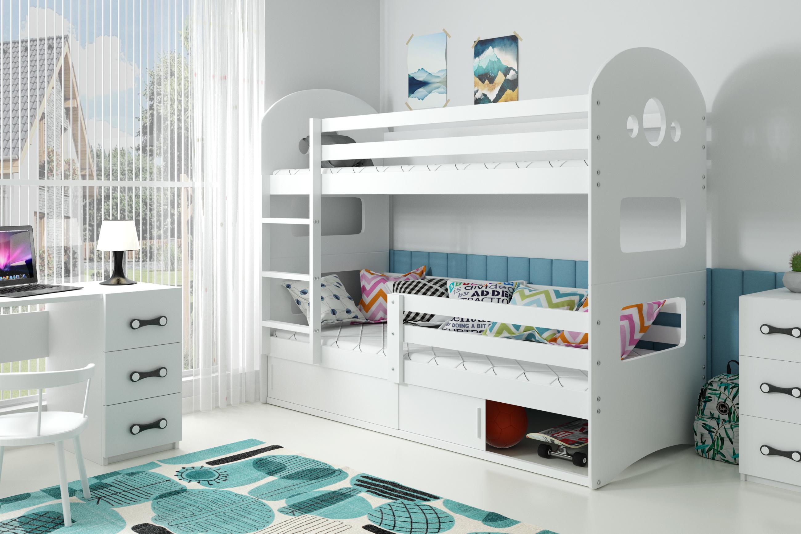 Poschodová posteľ DOMINIK 160x80cm - Biela - posuvné dvierka BIELA
