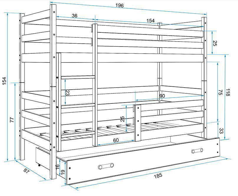 Poschodová posteľ - ERIK 2 - 190x80cm - Biela - Modrá