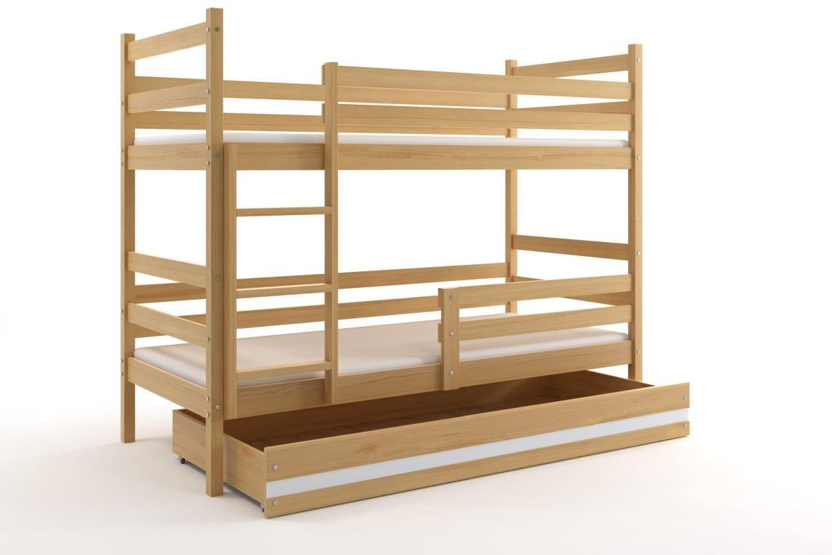 Poschodová posteľ - ERIK 2 - 190x80cm - Borovica - Biely