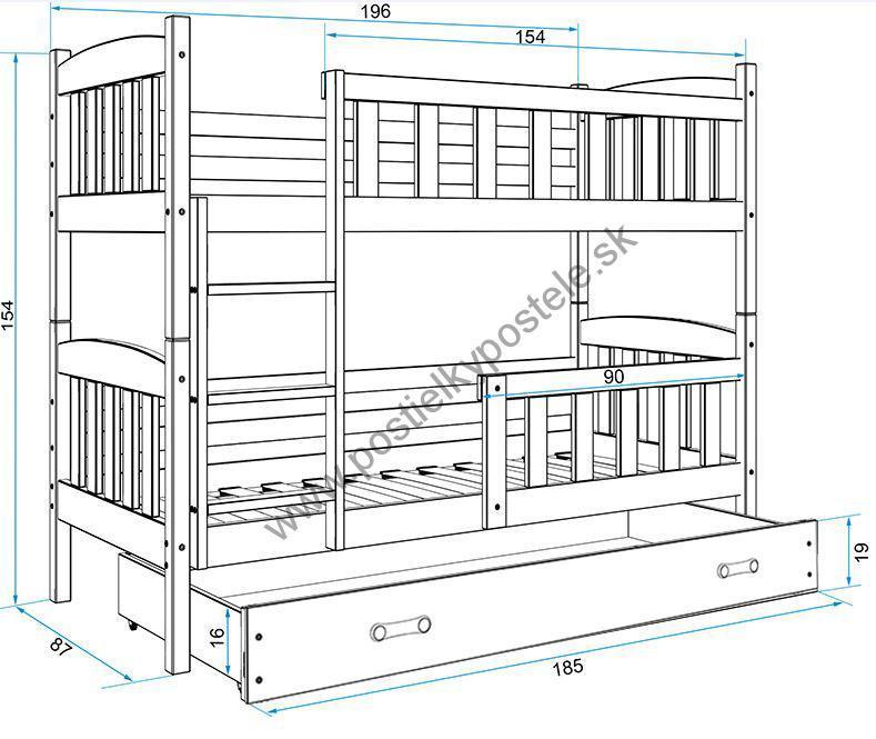 Poschodová posteľ KUBO - 190x80cm - Biela - Modrá