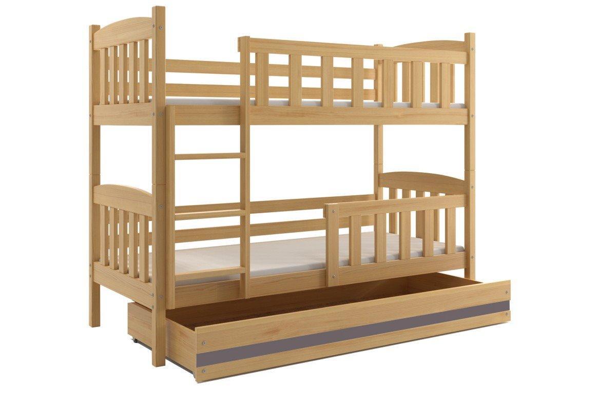 Poschodová posteľ KUBO - 190x80cm - Borovica - Grafitová