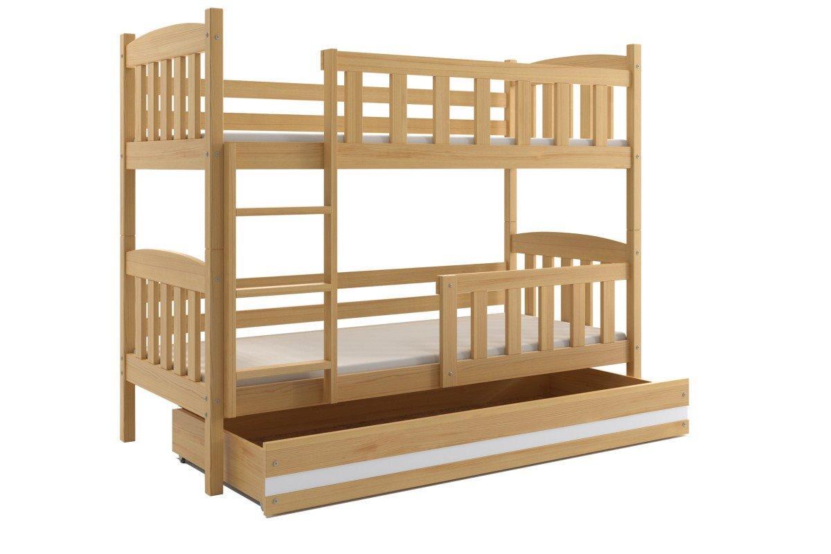 Poschodová posteľ KUBO - 200x90cm - Borovica - Biela