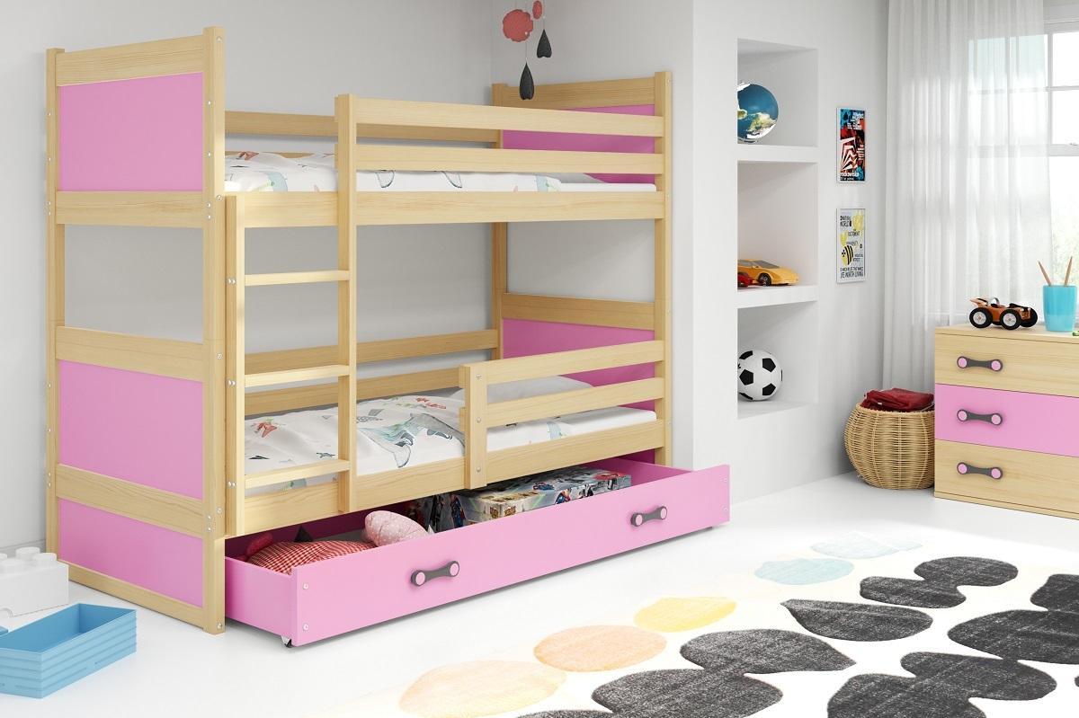 Poschodová posteľ RICO 2 - 160x80cm - Borovica - Ružový