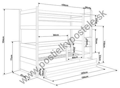 Poschodová posteľ RICO 2 - 190x80 - Borovica - Grafitový