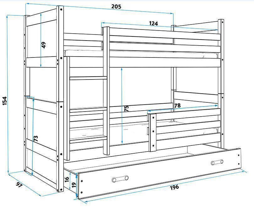 Poschodová posteľ RICO 2 - 200x90cm - Borovica - Zelený
