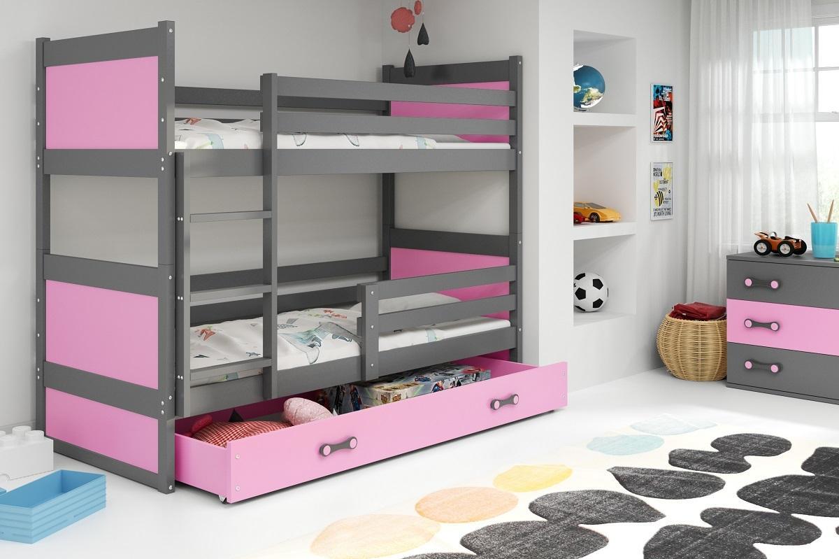 Poschodová posteľ RICO 2 - 200x90cm - Grafitový - Ružový