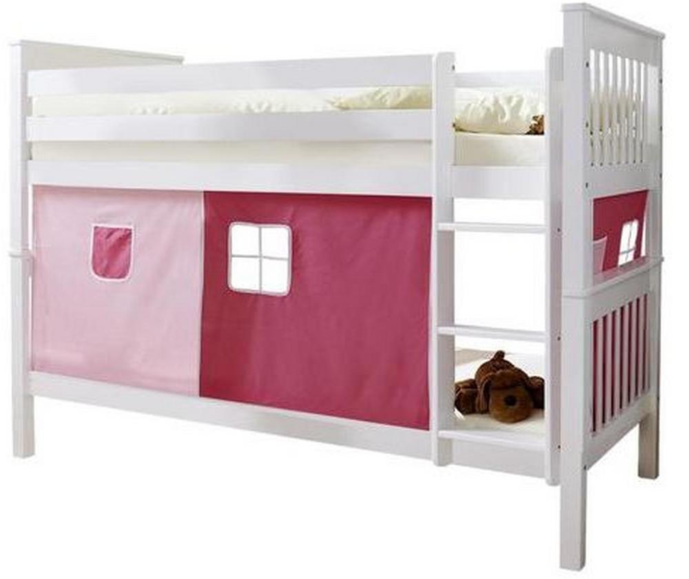 Poschodová Posteľ Ružový Záves Sammy 90x200 Cm Biela
