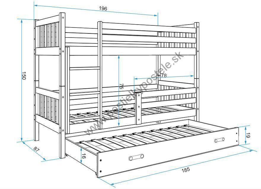 Poschodová posteľ s prístelkou CARINO 3 - 190x80cm - Grafitová - Grafitová