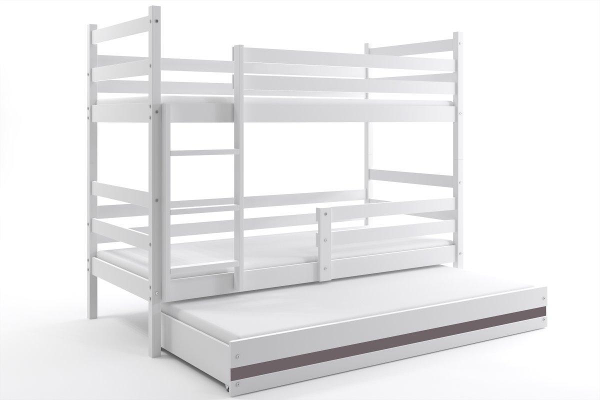 Poschodová posteľ s prístelkou - ERIK 3 - 190x80cm Biely - Grafitový