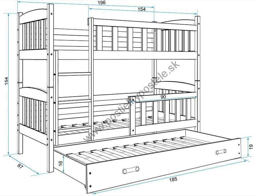 Poschodová posteľ s prístelkou KUBO 3 - 190x80cm Biela - Modrá