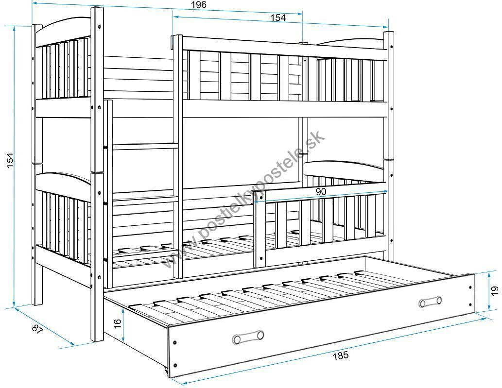 Poschodová posteľ s prístelkou KUBO 3 - 190x80cm Grafitová - Zelená